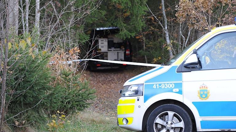 Polisbil och avspärrning vid skog. Foto: Pontus Stenberg
