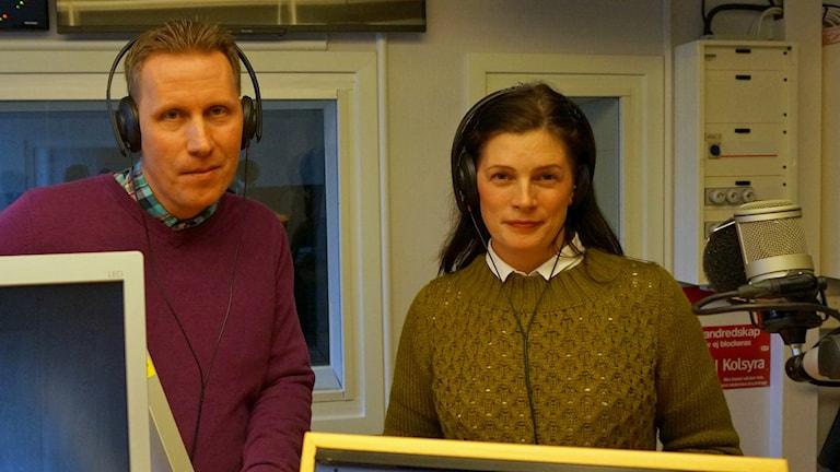 Nicklas Franzén (V) och Anna af Sillén (M). Foto: Katarina Larsson/Sveriges Radio.