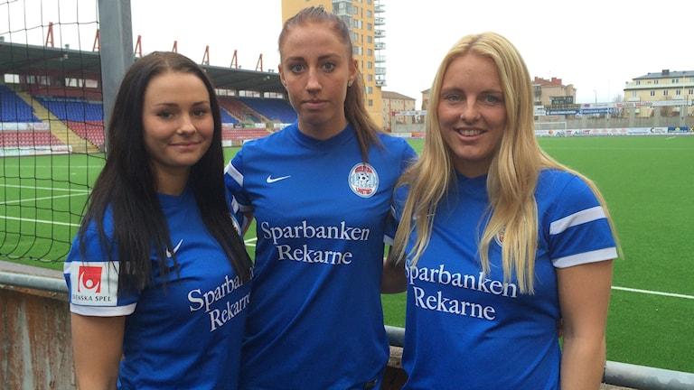 Emma Jansson, Petra Andersson och Mimmi Larsson. Foto: Jonas Carnesten/Sveriges Radio.