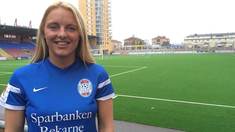Mimmi Larsson spelare i Eskilstuna United. Foto: Jonas Carnesten/Sveriges Radio