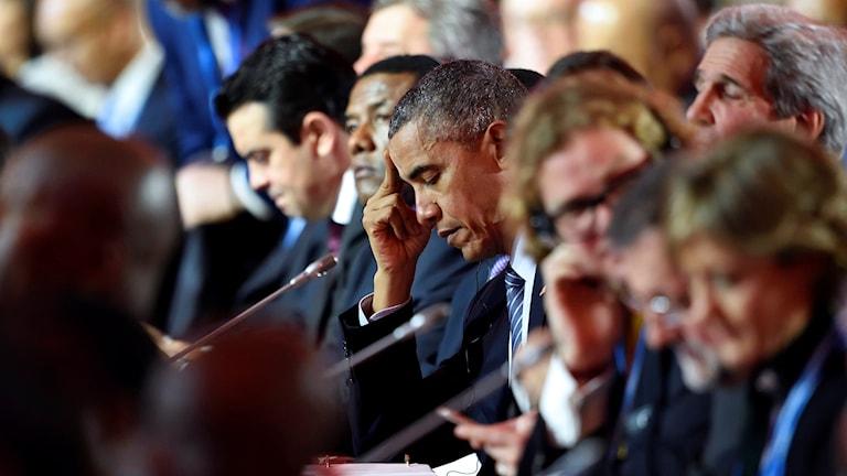 Barack Obama iyo madaxdii kale ee kulanka cimilada ka qeyb galeeysay. Sawirle: Eric Feferberg/TT