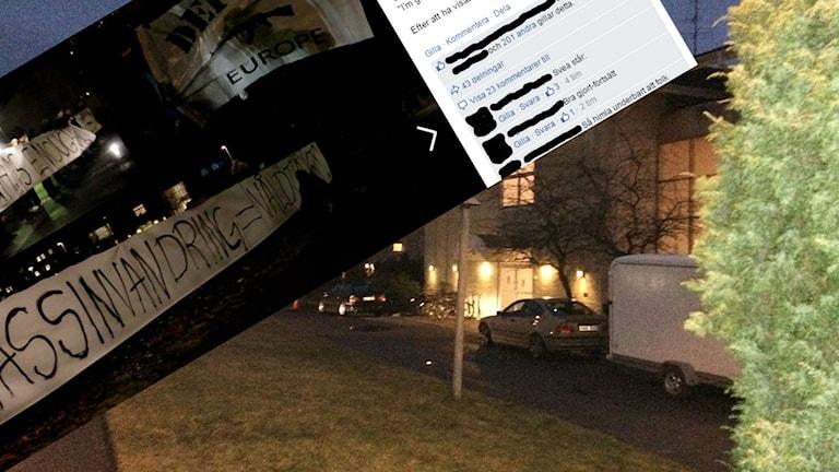 När polisen kom till platsen var demonstrationen avbruten. Foto: Tobias Sandblad/Sveriges Radio/Montage