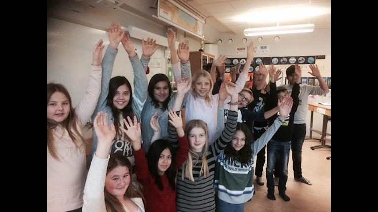 Slagstaskolan klass 5C. Foto:Susanne Lindkvist Eriksson/Sveriges Radio