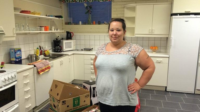 Therese Lekander jobbar ideellt med EU-migranterna. Foto: Jarmo Mänty/Sveriges Radio