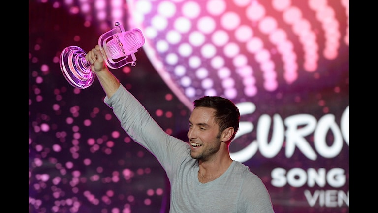 Måns Zelmerlöw vinner Eurovision Song Contest 2015 med bidraget Heroes. Foto: Jessica Gow/TT.