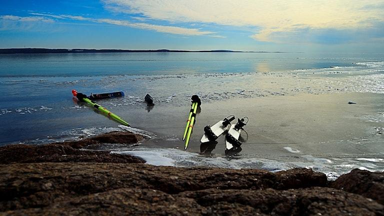 Den fina isen lockar ut många långfärdsskridskoåkare. Foto: Per Thyrén/Sveriges Radio.