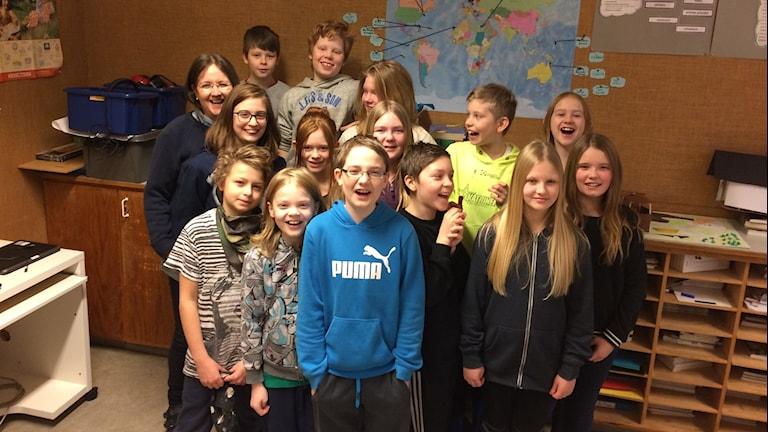Kyrkskolan klass 5. Foto: Josefin Lundin/Sveriges Radio.