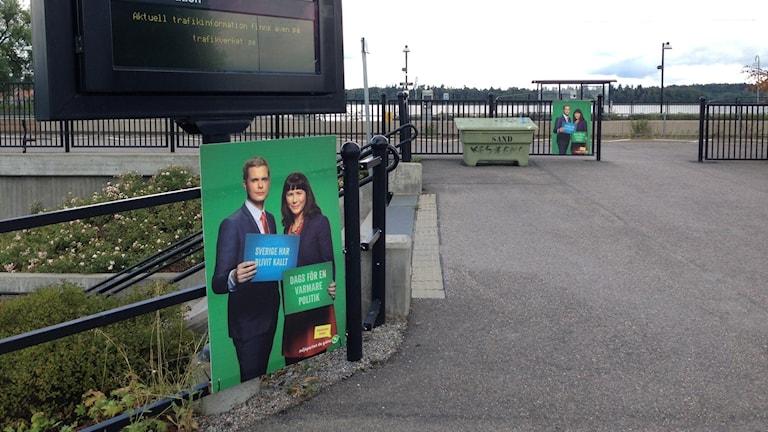 Избирательные афиши партии Охраны окружающей среды накануне выборов 2014. Foto: Sveriges Radio.
