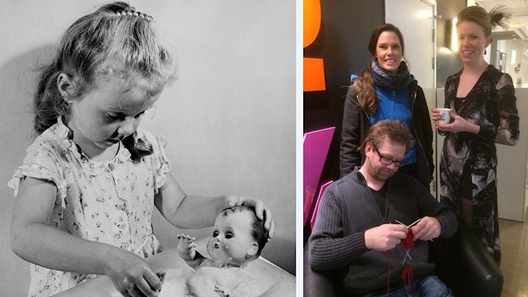 2 bilder: Flicka som badar en docka och en bild på P4 Sörmland föräldrapanel.