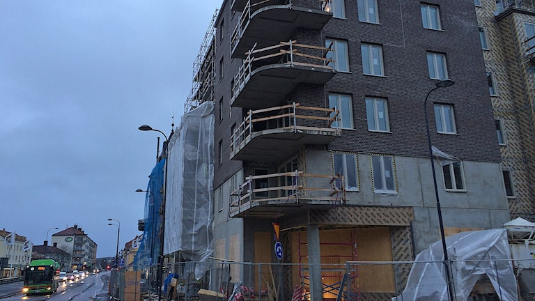 Byggplats i centrala Eskilstuna