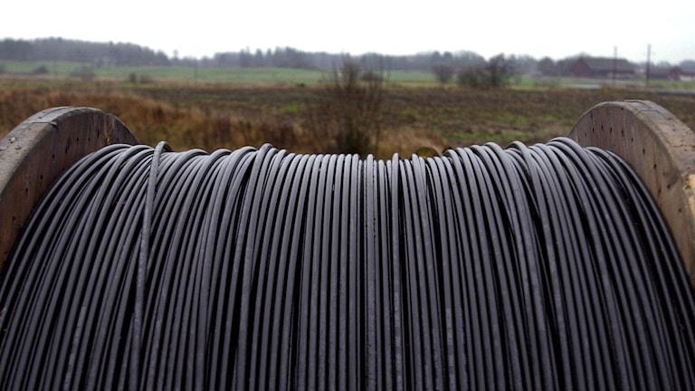En rulle med bredbandskabel, i bakgrunden åkrar och träd.