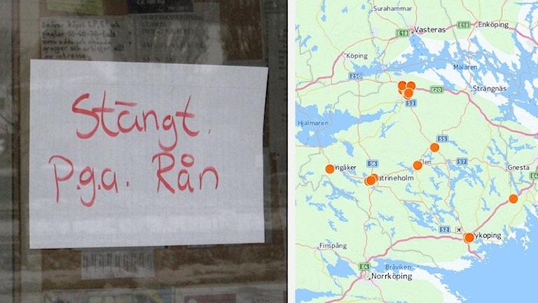 Kollage: Rån-skylt och karta.