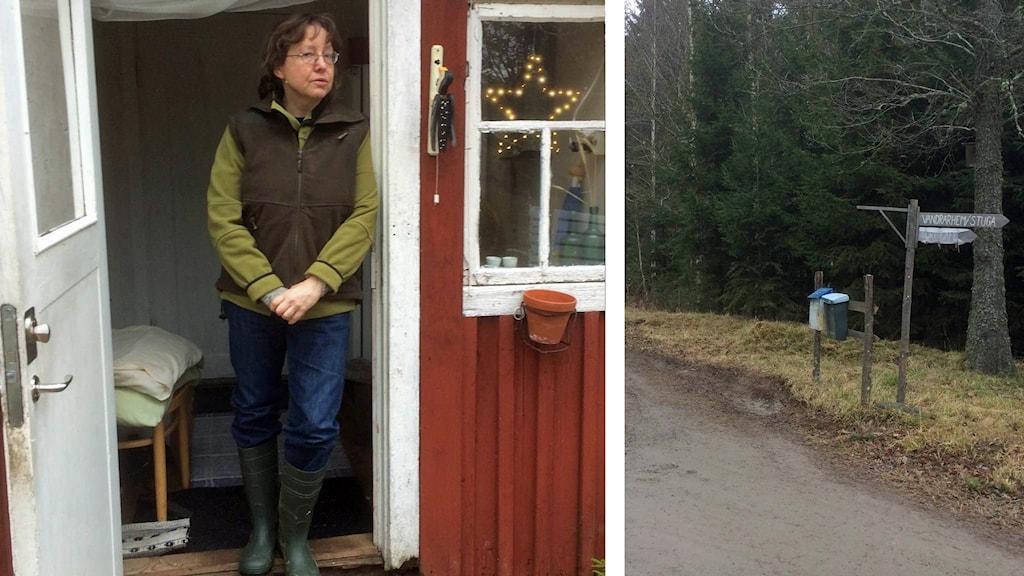 Kollage: Monika Gustafsson och hennes brevlåda.