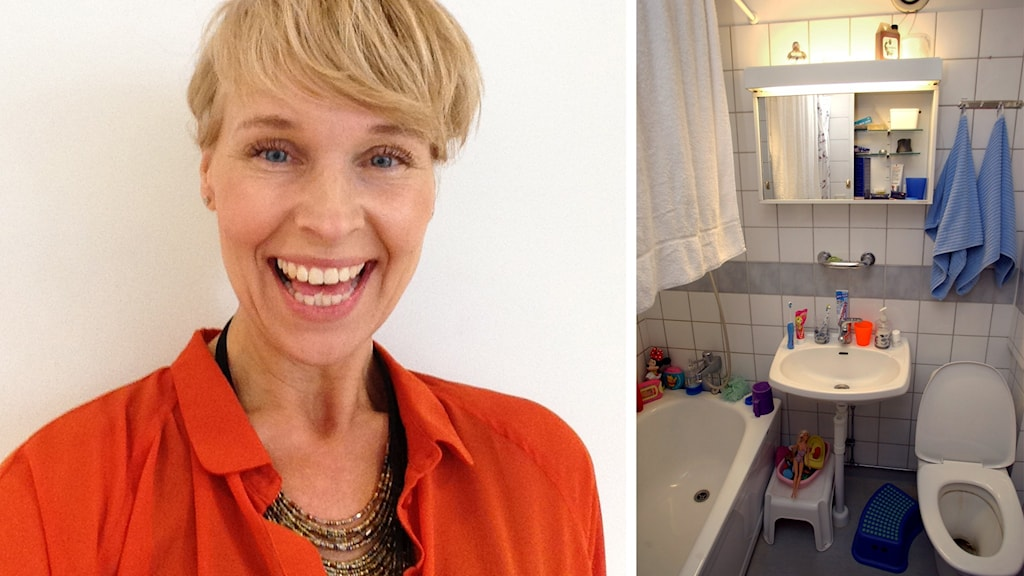 Kollage: Anette Welinder och ett badrum.