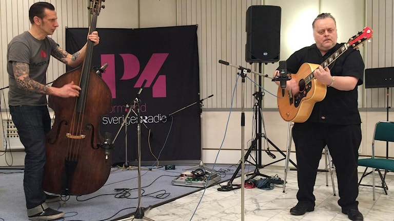 Rockabilly-bandet Fatboy med Hannu Kiviaho och Thomas Shuldt, bas som båda är från Eskilstuna
