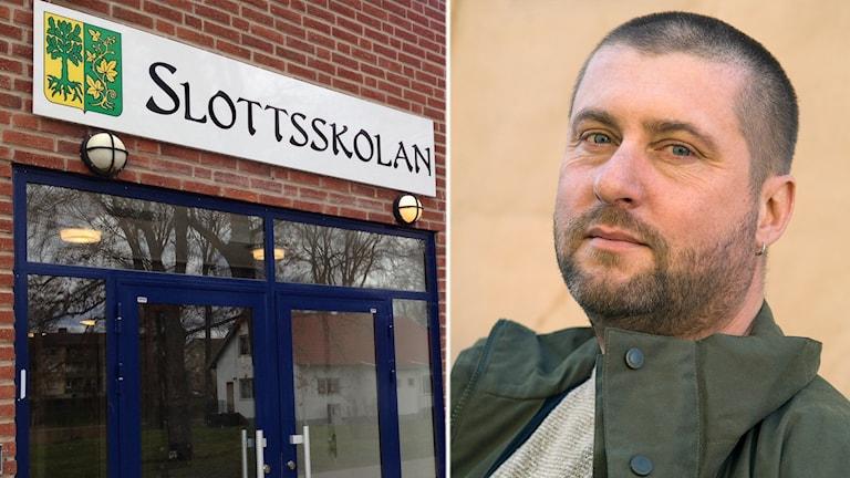 Bild på Slottsskolan i Vingåker och skolforskare Per Kornhall.
