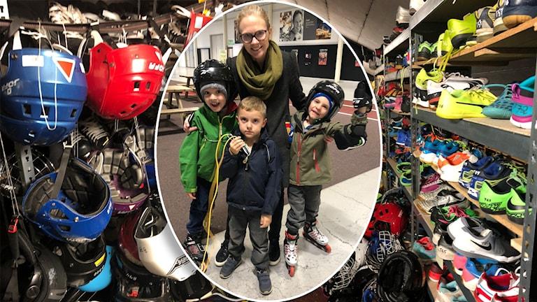 Karin Sundby med söner lånar gärna utrustning på Fritidsbanken på Rosvalla i Nyköping.