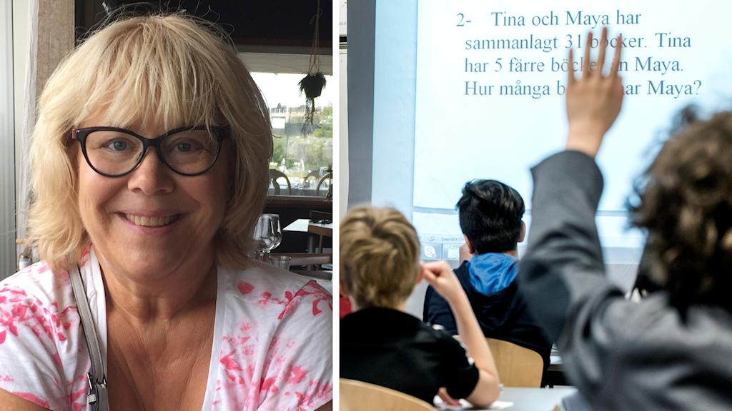 Kerstin Gelfgren, verksamhetschef för skola och förskola i Flen ihopklippt med elever på skolan