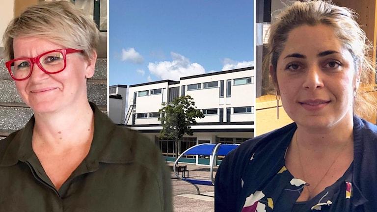 Två kvinnor inklippta med bakgrund på en skola