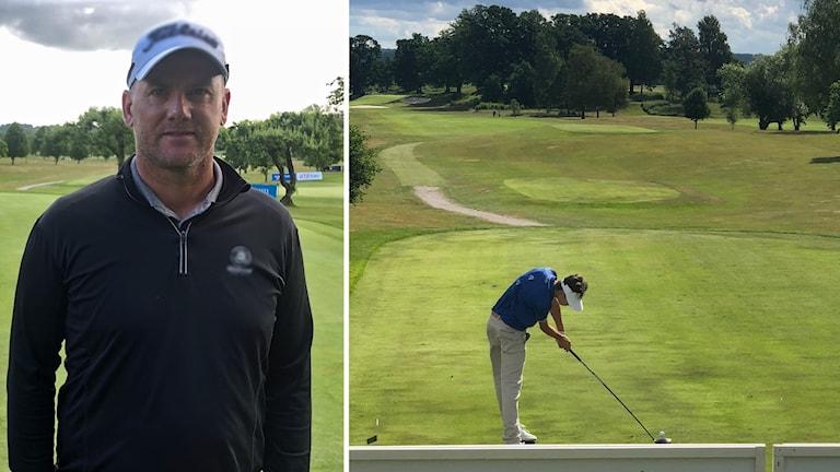 Närbild på Robert Karlsson och en bild på en golfspelare på avstånd.