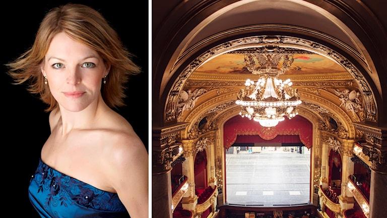 Elin Rombo vid sidan av bild på Kungliga Operans scen.