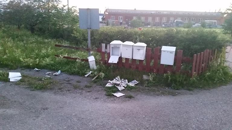 Trasiga brevlådor utanför moskén i Årby. Tidningar ligger på marken