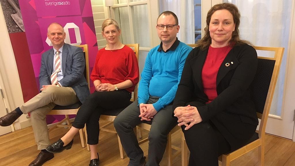 Urban Granström, Socialdemokraterna, Anna af Sillén, Moderaterna, Thom Zetterström, Sverigedemokraterna och Martina Hallström, Centerpartiet