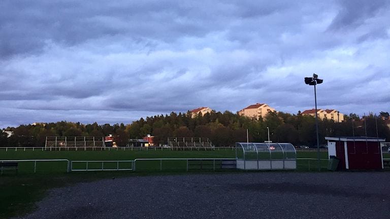 Fotbollsplan i skymning