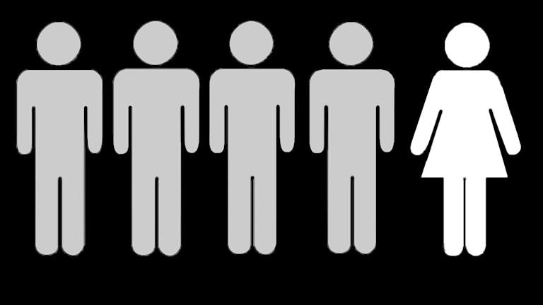 Fyra män i grått, en kvinna i vitt