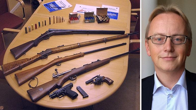 Vapen och patroner från polisens vapenamnesti i Sörmland 2013.