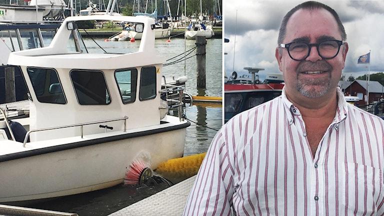 Ulf Hagstedt teknisk chef Trosa p å bryggan vid den nya båtbottentvätten vid Trosa gästhamn.