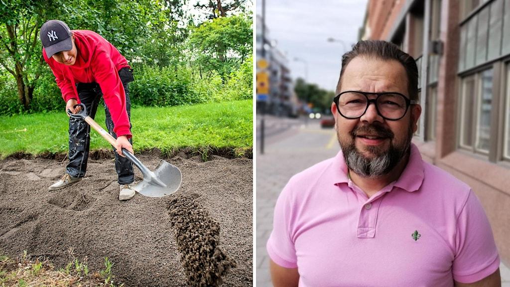Sommarjobbande ungdomar i Flemingsberg. Adam Teler har markarbete i Visättra, Huddinge i fotomontage med bild på moderaternas gruppledare Jari Puustinen i Eskilstuna.