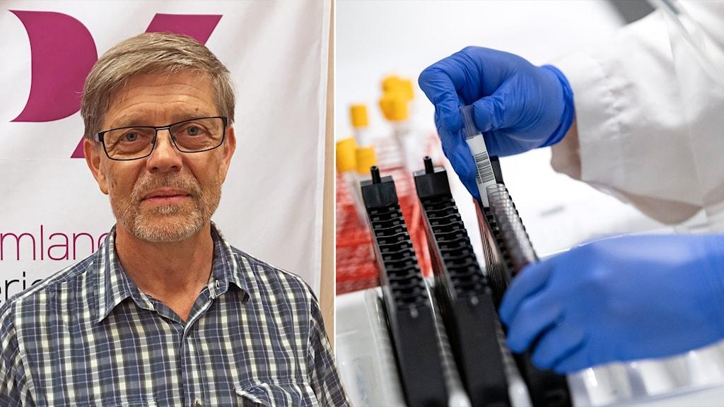 Signar Mäkitalo står i P4 Sörmlands studio i Eskilstuna, i ett fotomontage med en labbiljö.