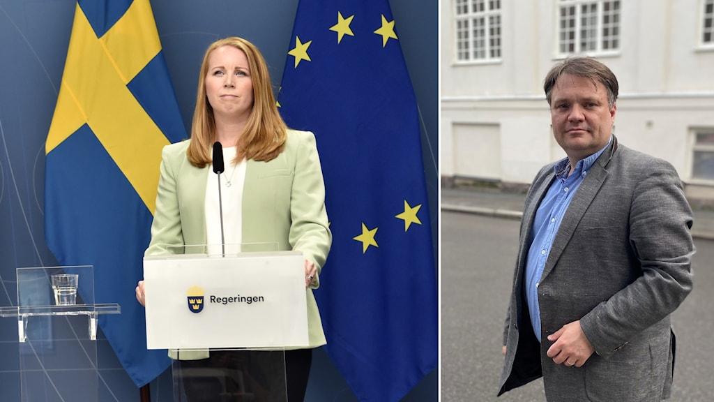 bilder på Centerpartiets partiledare Annie Lööf och Politisk redaktören Olof Jonmyren i fotomontage.