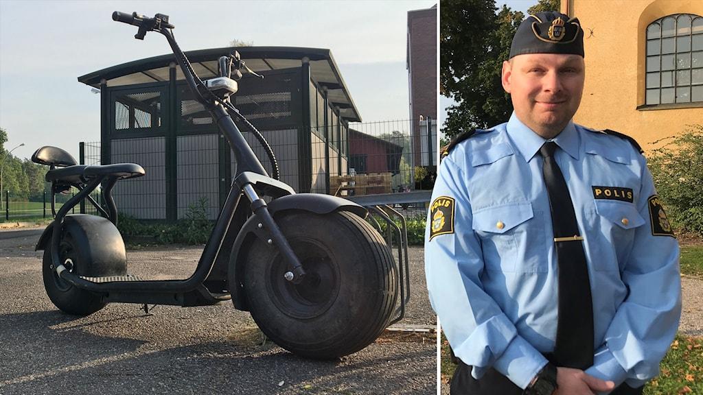 Trafikpolisen Björn Thunblad i fotomontage med en elskoter.
