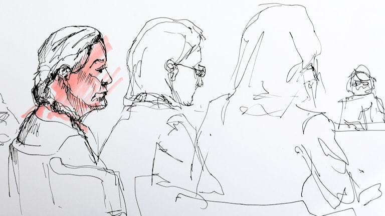 Tre kvinnor, avtecknade i skiss