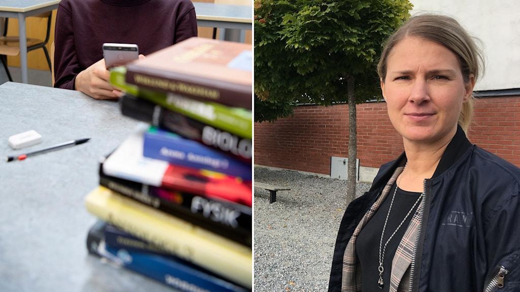Linda Teske, rektor på Kunskapsskolan i Nyköping, står utanför skolan.