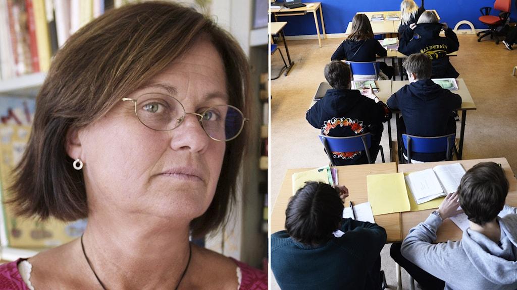 Kerstin Welf, speciallärare på Welandersborgs skola, i Gnesta ser sammanbiten ut. Till höger: bild på skolklass som sitter i sina bänkar.
