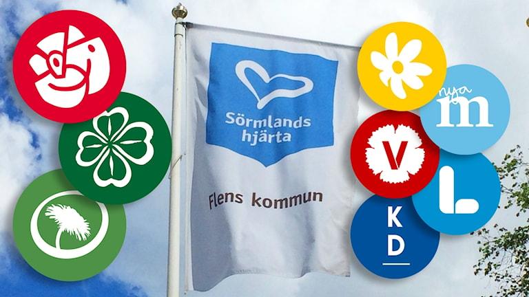 Flens flagga, med partiloggorna vid sidan om.