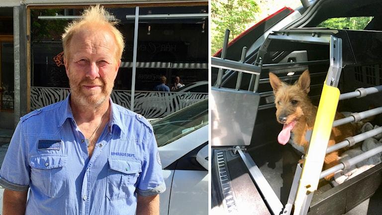 Lars Nordqvist och en hund i bil