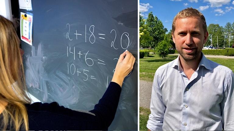 En lärare vid svarta tavlan och Jacob Högfeldt (M)