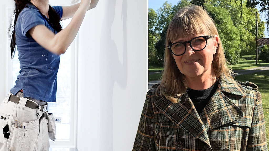 Modeskaparen Johanna Söderström i ett fotomontage med en bild på en kvinnlig målare.