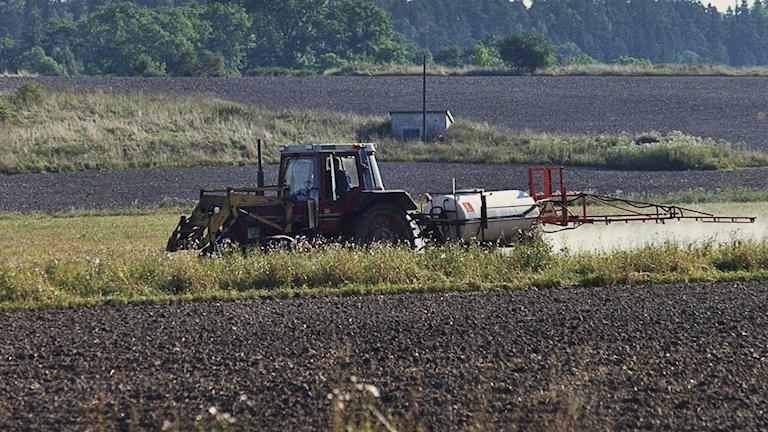 Traktor som besprutar åker. (Arkivbild)