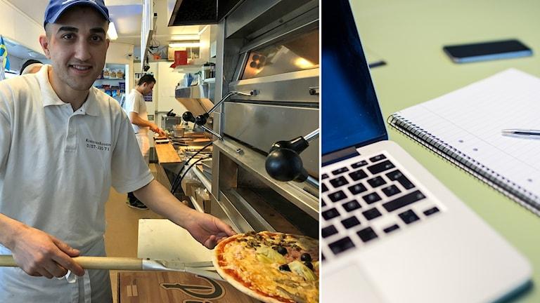 Nafe Badr Almohamad tar ut en pizza ur en pizzaugn och en bild på en dator.