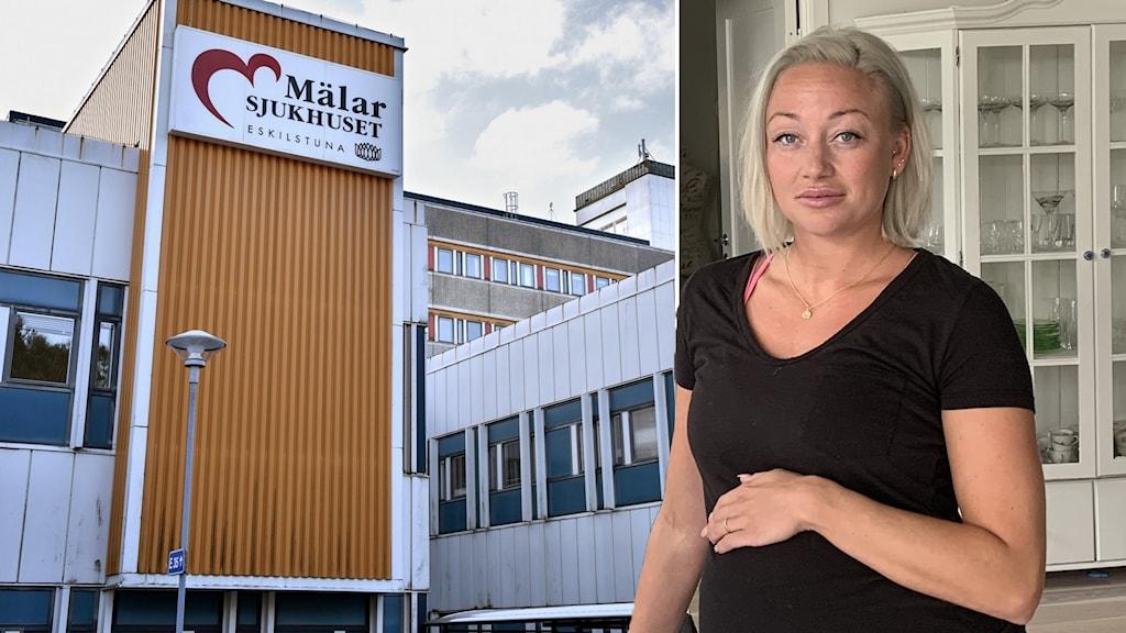 Amanda Hellström i ett fotomontage med en bild på Mälarsjukhuset.