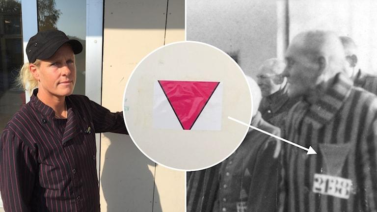 ICA-handlaren Jenni Steiner visar den rosa triangeln som satts upp på hennes ICA-butik.