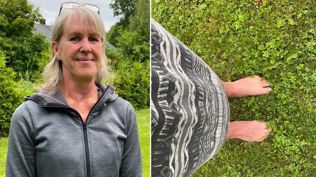 en porträttbild på en kvinna i grå tröja som står på en gräsmatta i montage med en bild på ett par bara fötter i gräset.