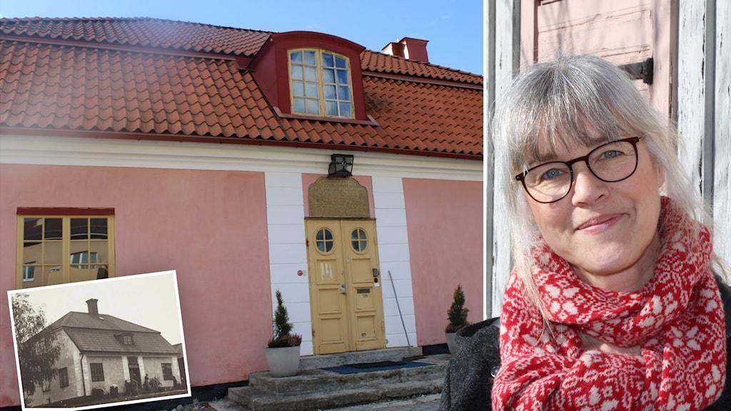 fotomontage av en kvinna och ett rosa stenhus