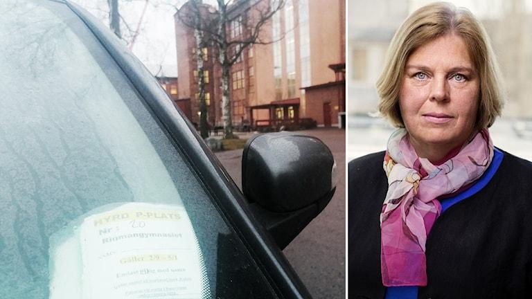 Pia Blank Thörnroos, rättslig expert på Skatteverket, inklippt vid sidan av bil på parkering.