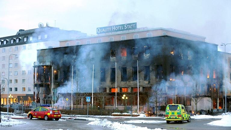 Stadshotellet i Eskilstuna vid branden 2009.